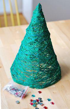 Wrapped Yarn Christmas Tree DIY