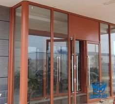 Wood color anodizing aluminium profile for casement doors and sliding doors.