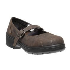 Parade Diaman Ladies Brown Leather Court Style Safety Shoes with Buckle Fastening