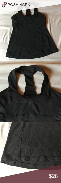 Lululemon tank top size 8 Lululemon active tank top size 8. Black with built-in bra. Used and in good condition lululemon athletica Tops Tank Tops