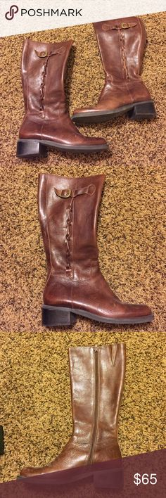 Nicole brown leather boots with knot detail Worn once, look brand new. Distressed leather boots with knot detail up side Nicole Shoes