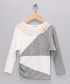 Take a look at this Ivory & Gray Color Block Top - Girls by Sweetheart Jane on #zulily today!