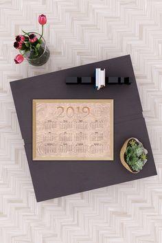 Print Calendar, Yearly Calendar, Desk Calendars, Gold Flowers, Pastel Pink, Vintage Pink, Paper Goods, Watercolor Flowers, Digital Prints