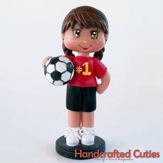 Handmade Chibi Girl In Soccer Uniform Birthday Cake topper, Figurine, Souvenir, Keepsake