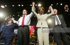 Maryland Lt. Governor Kathleen Kennedy Townsend, with her uncle, U.S. Senator Ted Kennedy , and former vice president Al Gore , and U.S.Senator Barbara A. Mikulski raise their hands during a campaign stop October 31, 2002 in Bowie, Maryland. Townsend is running against Robert Ehrlich for governor of Maryland.