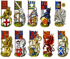 """""""Various Heraldic Beast and the Banner which they Supported from the History of England, Wales, Scotland and Great Britain"""", Dan Escott Medieval World, Medieval Art, Medieval Banner, Family Shield, Nautical Flags, Vikings, Wars Of The Roses, Family Crest, British History"""