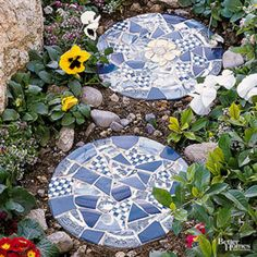 DIY Projects Made With Broken Tile - Tile Dropped Stepping Stones - Best Creative Crafts, Easy DYI Projects You Can Make With Tiles - Mosaic Patterns and Crafty DIY Home Decor Ideas That Make Awesome DIY Gifts and Christmas Presents for Friends and Family http://diyjoy.com/diy-projects-broken-tile