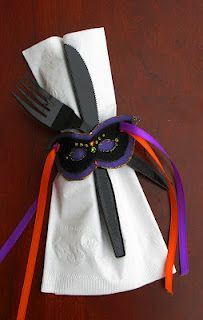 ✓ Masquerade Napkin Ties - Designed & Crafted by Lesa Steele festively hold the Chinet® Dinner Napkins.  #Chinet