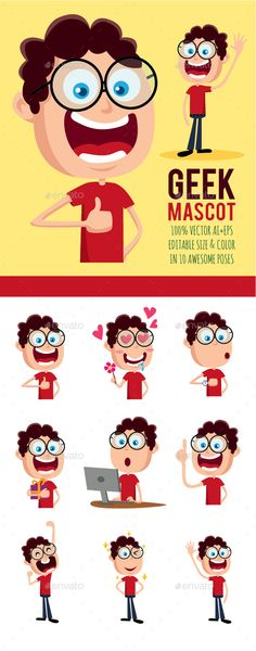 Buy geek character for mascot and sticker by keenarstudio on graphicriver. funny character for mascot or sticker. vector file ai and eps, fully editable Funny Character, Character Concept, 2d Character, Character Design, Flat Design Illustration, Character Illustration, Cute Characters, Vector Characters, Human Icon