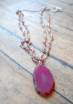 Agate Pink Silver Double Strand Long Necklace by Cheshujewelry, $26.00