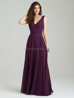 A-line Purple Open Back Chiffon Ruffles V-neck Bridesmaid Dresses