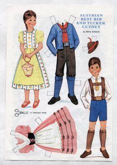 Vintage-Austrian-Best-Bib-Tucker-paper-dolls-1967-Uncut-Excellent-Neva-Schultz