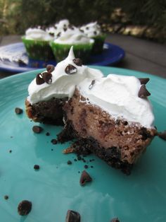Chocolate Chip Brownie Cheesecakes -- All of your favorite dessert flavors wrapped into one delicious treat. Recipe and photo by blogger, Xenia Sundell, of www.thanksmailcarrier.com