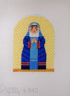 Diane's Taking Time Out To Needlepoint, mary nativity figure