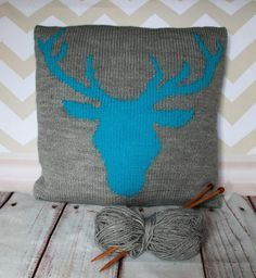 Hygge - Beginner Stag Head knitted Cushion Cover in grey and blue