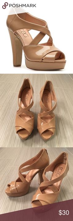 BCBG Paris Arielle Sandal Patent nude sandals with 4.75in heel and 1in platform. Beautiful shoes that can be worn with a dress or jeans. OFFERS WELCOME BCBG Shoes Heels