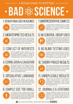 Infographic: A Rough Guide to Spotting Bad Science. A brief detour from chemistry, branching out into science in general today. This graphic looks at the different factors that can contribute towards 'bad' science - it was inspired by the research I. Science Classroom, Teaching Science, Science Education, Physical Science, Primary Education, Pseudo Science, Science And Nature, Applied Science, Chemistry Teacher