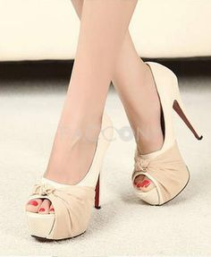 2013 New Korean Fashion Bow Peep Toe High Heel Pumps Stiletto
