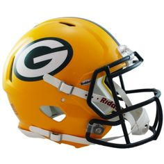 Great for autographs and memorabilia collectors, the Riddell NFL Authentic Speed Full Size Football Helmet is a must-have for pro football fans. Clad in official team colors and decals plus equipped with face mask, padding and chin strap. Green Bay Packers Helmet, Green Packers, Nfl Green Bay, Packers Football, Football Helmets, Football Fans, Football Players, 32 Nfl Teams, Helmet Logo