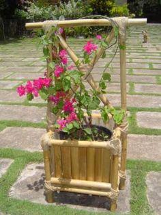 Além de figurar no paisagismo, trabalha na retenção de dióxido de carbono, produção de oxigênio e produz também seus próprios compostos antibacterianos, por isso pode crescer sem pesticidas. Seria a substituição ideal para o corte de árvores, já que quando cortado, brota novamente. Bamboo Planter, Bamboo Fence, Planters, House Plants Decor, Plant Decor, Pakistani Wedding Photography, Garden Arches, Bamboo Design, Bamboo Crafts