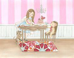 Tea with Mr. Wrigely Art Print Nursery Art by fischtaledesigns, $24.00  childrens illustration childrens art room decor