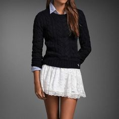 Collard shirt sweater & white flowy skirt