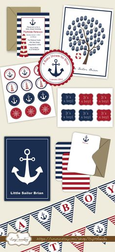 Nautical Baby Shower Party Printable Package DIY -  Custom color, text and size included in the price on Etsy, $37.81 CAD