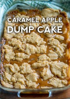 This caramel apple dump cake is a wonderfully sweet, moist and crumbly dessert that you will love to make and eat! If you've used an apple dump cake recipe with yellow cake mix before, the extra Caramel Apple Dump Cake, Apple Dump Cakes, Dump Cake Recipes, Caramel Apples, Apple Caramel, Carmel Apple Cookies, Carmel Apple Bars, Bread Recipes, Vegan Recipes