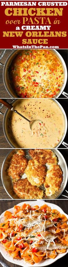 Parmesan Crusted Chicken with Pasta in a creamy New Orleans Sauce - Cheesecake's Factory copycat recipe.