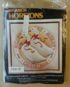 "Monarch Horizons Golden Goose Christmas Wreath 14""x 14"" Vintage New | Crafts, Needlecrafts & Yarn, Embroidery & Cross Stitch | eBay!"