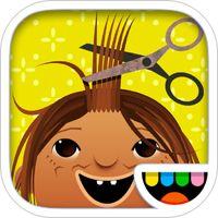 Toca Hair Salon' van Toca Boca AB. In Toca Hairsalon kunnen kinderen haren knippen, föhnen, verven, speldjes in doen etc. Eerst kiezen ze hun favoriete poppetje en dan kan de behandeling beginnen