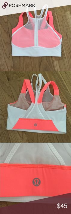 Lululemon size 4 bra Super cute high support bra! I'm not sure of the name of the style but it is hard to find! Love the mesh detailing and the bright coral color. Never worn. Perfect condition. NO TRADES! please make offers using the offer button :) lululemon athletica Intimates & Sleepwear Bras