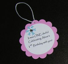 """Pink and Blue (with rhinestone) Handmade & Personalized Single-Sided """"Winter ONEderland/Wonderland"""" Snowflake 1st Birthday Party Favor Tags on Etsy, $10.00"""