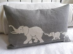 hand printed greys elephant family cushion cover by helkatdesign