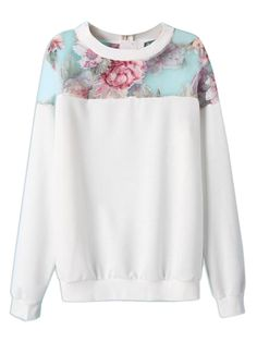 White Floral Sweatshirt With Organza Panel