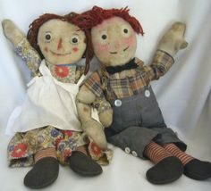 Early Cloth Raggedy Ann and Andy Cloth Dolls by Volland