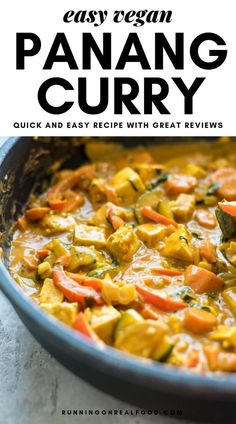 Vegan Panang Curry with Tofu - Try this delicious, rich and creamy curry served over quinoa for a complete meal. It's easy to make with basic pantry ingredients and ready in under 30 minutes. #vegan #dairyfree #curry