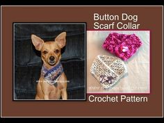 """Posh Pooch Designs Dog Clothes: 12 Collars of Christmas # 8 """"Button Dog Scarf Crochet Pattern"""" Free Form Crochet, Crochet Dog Patterns, Crochet Snowflake Pattern, Fast Crochet, Crochet Ideas, Knitting Patterns, Diy Leather Dog Collar, Diy Dog Collar, Bandanas"""