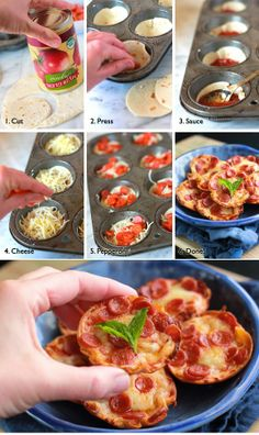 Mini Tortilla Crust Pizzas Who said that cupcakes forms are used just for baking cupcakes? I love this recipe. I eat mini tortillas like sun-flower seeds. Very easy to make it, is suitable for a party with your friends.