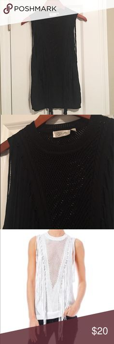 Sleeveless, knit Sweater with Fringe Sleeveless, knit sweater with sheer v- front and back. Has a fringe embellished front, crew neck and zigzag knit pattern. By RD Style. Make me an offer! :) RD Style Tops Blouses