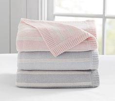 Sweet Stripe Knitted Baby Blanket #pbkids