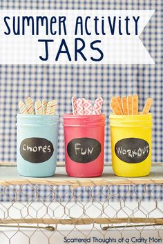 Use these Summer Activity Jars to keep the kids happy and engaged with fun activities, chores and exercise! Summer Fun For Kids, Summer Activities For Kids, Summer Diy, Summer Crafts, Fun Activities, Crafts For Kids, Summer Ideas, Fun Ideas, Summer Slide