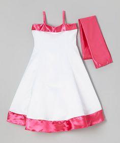 Look what I found on #zulily! Fuchsia & White Satin Dress & Shawl - Toddler & Girls #zulilyfinds