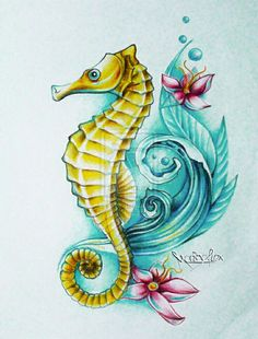 Sea Horse Tattoo Designs--- i wouldn't mind adding something like this to my seahorse Seahorse Drawing, Seahorse Tattoo, Seahorse Art, Sea Tattoo, Ocean Tattoos, Mermaid Tattoos, Body Art Tattoos, Seahorses, Tatoos