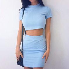 dress light blue baby blue skirt top crop tops bodycon skirt bodycon short…