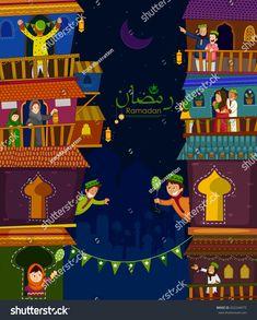 Muslim families wishing Eid Mubarak,Happy Eid on Ramadan in vector Eid Mubarak Greetings, Ramadan Mubarak, Viria, Eid Card Designs, Ramadan Poster, Ramadan Cards, Eid Festival, Selamat Hari Raya, Family Wishes