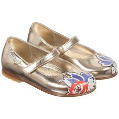 Simonetta Girls Metallic Gold & Floral Leather Shoes at Childrensalon.com