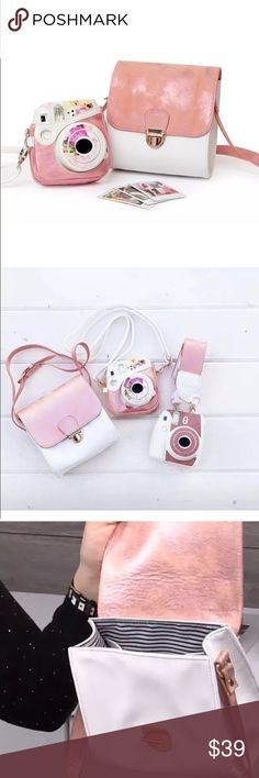 Heidi Swapp Instax Mini 7 8 Wide Bag Case Pink blush with gold tint and white exterior with striped print interior lining. Adjustable straps. Fits instax mini, instax share printer. Great for on the go and has room for film too! Back pocket detail.  • Shoulder bag only.  • Camera/printer/film not included. Heidi Swapp Bags Crossbody Bags
