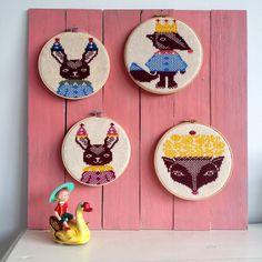 Knitted paintings, check this cute things on my webstore www.emmeke.be