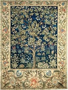 Reproduction of Tree of Life Tapestry in Beige by William Morris & Co. Title : William Morris' Tree of Life, Beige. Tree Of Life Tapestry, Blue Tapestry, Tapestry Weaving, Arts And Crafts Movement, Art Nouveau, Pop Up Karten, William Morris Art, Motif Floral, Vintage Design